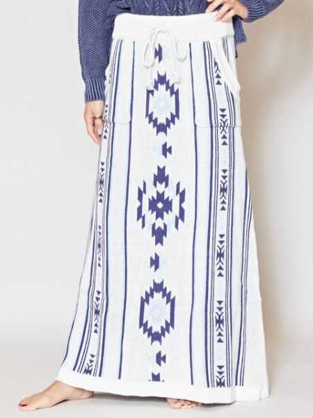 Navajo Pattern Knitted Long Skirt