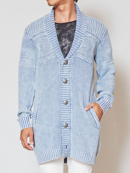 Acid Washed Cotton Knit Men's Cardigan-Cardigans & Outerwear-Ametsuchi