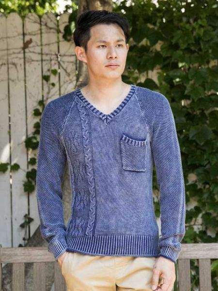 Acid Washed Cotton Knit Men's Top