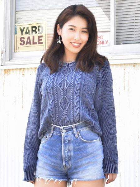 Acid Washed Cotton Knit Top-Tops-Ametsuchi