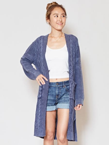 Acid Washed Cotton Knit Long Cardigan-Cardigans & Outerwear-Ametsuchi