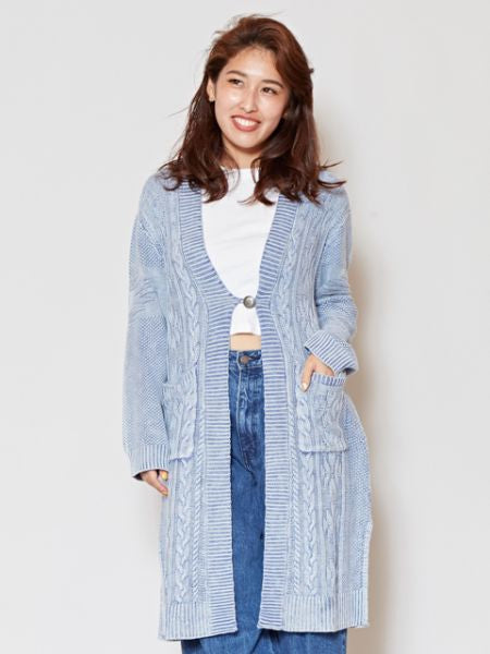 Acid Washed Cotton Knit Long Cardigan-Ametsuchi