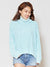 Acid Washed Cotton Knit Turtleneck Top