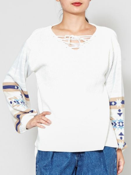 Knitted Top with Navajo Pattern Sleeve-Ametsuchi