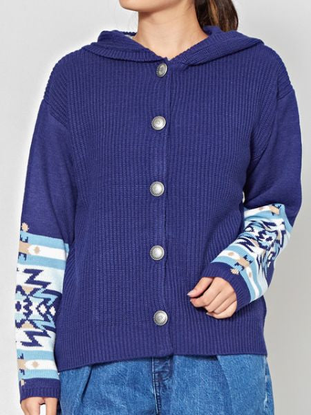 Knitted Hoodie with Navajo Pattern Sleeve-Ametsuchi