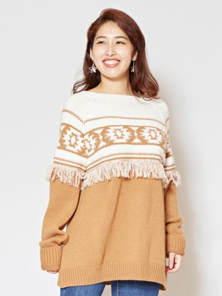 Navajo Pattern Knitted Pullover with Fringe Hem