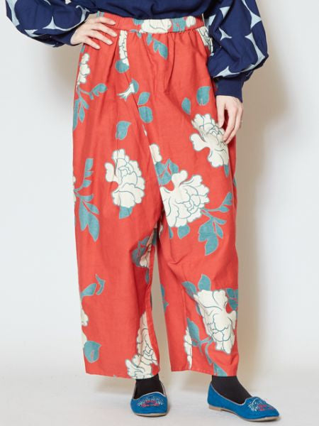 White Peony Printed Wrap Wide Pants