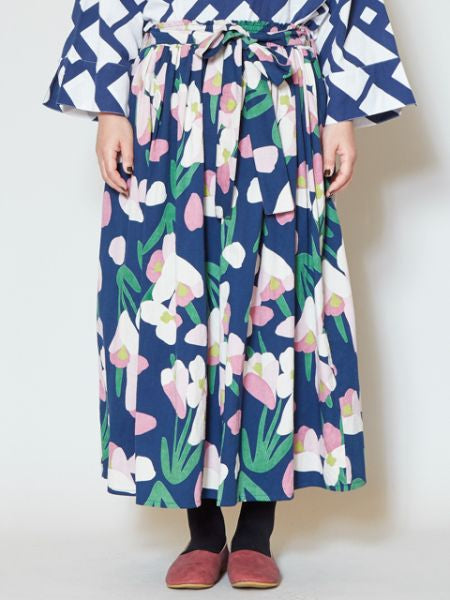 Cyclamen Floral Skirt-Skirts-Ametsuchi