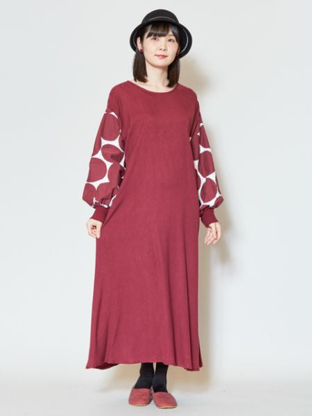 Dot Drop Sleeve Midi Dress