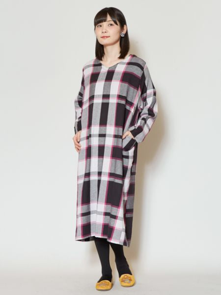 BENKEI Plaid Midi Dress-Ametsuchi