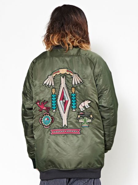 Navajo Pattern Embroidered MA-1 Style Jacket-Cardigans & Outerwear-Ametsuchi