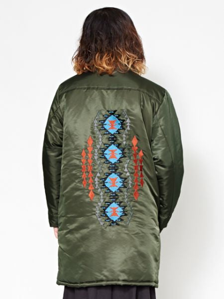 Nomad Quilted Long Jacket with Persian Rug Pattern Embroidery-Ametsuchi