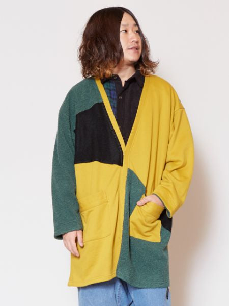 Patchwork Colorblocked Cardigan-Cardigans & Outerwear-Ametsuchi
