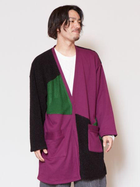 Patchwork Colorblocked Cardigan-Ametsuchi