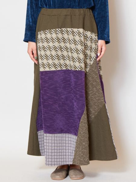 Patchwork Sweat Long Skirt-Jupes-Ametsuchi
