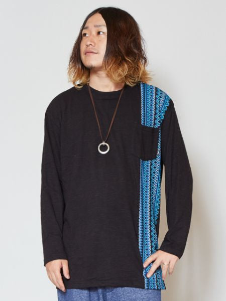 Geometric Stripe Long Sleeve T Shirt with Chest Pocket