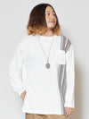 Geometric Stripe Long Sleeve T Shirt with Chest Pocket-Ametsuchi