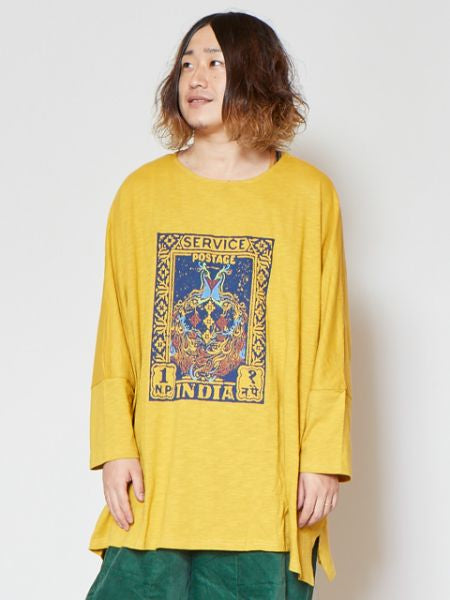 Indian Stamp Print Mens Oversized T Shirt