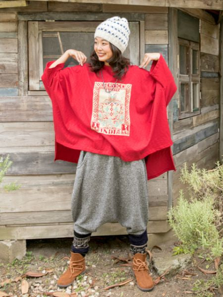 Indian Stamp Print High Low Hem T Shirt