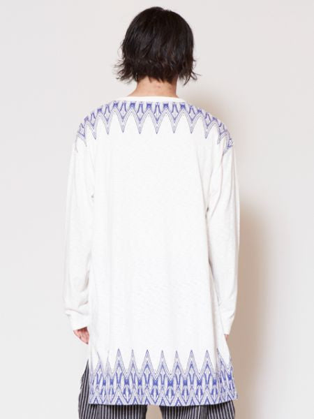 Tribal Triangle Back Print Long Sleeve Mens T Shirt-Ametsuchi
