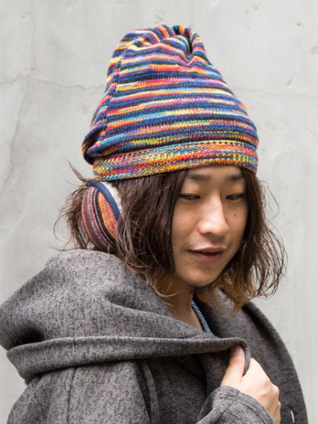 Mixed Yarn Knitted 3 Ways Beanie