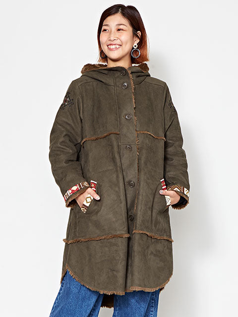 Nomad Faux Mouton Coat with Kilim Style Embroidery-Ametsuchi