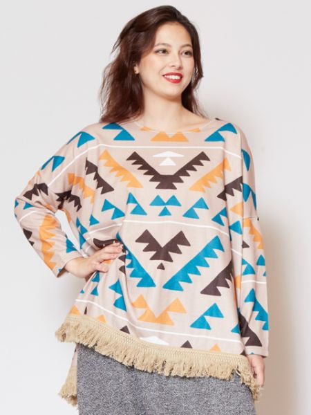 Navajo Pattern Knit Top-Tops-Ametsuchi
