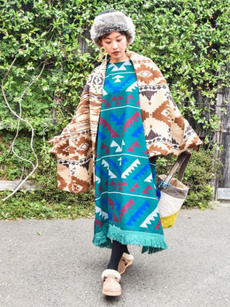 Navajo Pattern Knit Long Dress