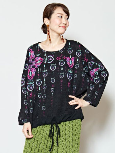 Oriental Pattern Printed Knit Top-Ametsuchi