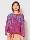 Oriental Pattern Printed Knit Top-Tops-Ametsuchi