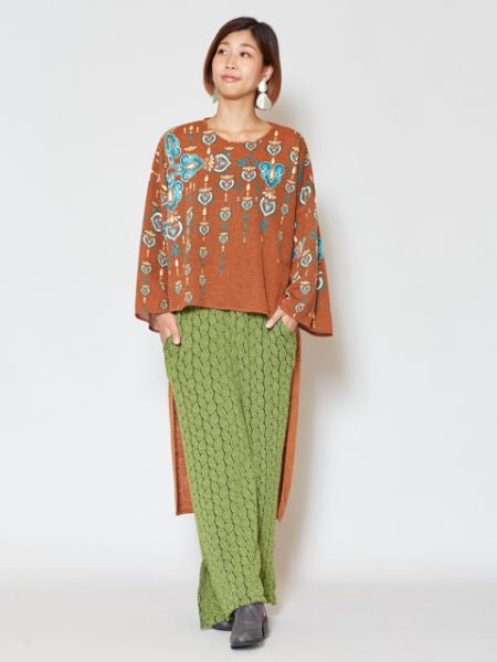 Oriental Pattern Printed Knit High Low Hem Dress -Dresses-Ametsuchi