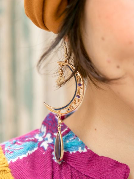 Sun and Crescent Moon Earrings