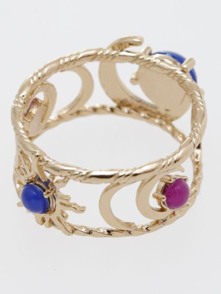 Sun and Crescent Moon Ring
