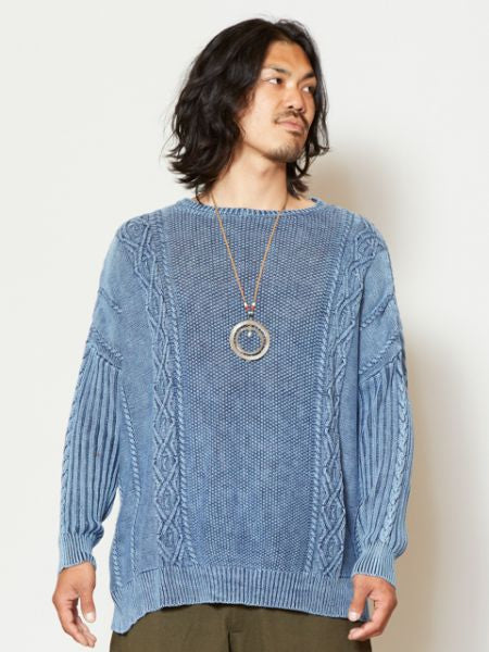Acid Washed Knitted Cotton Top-Tops-Ametsuchi
