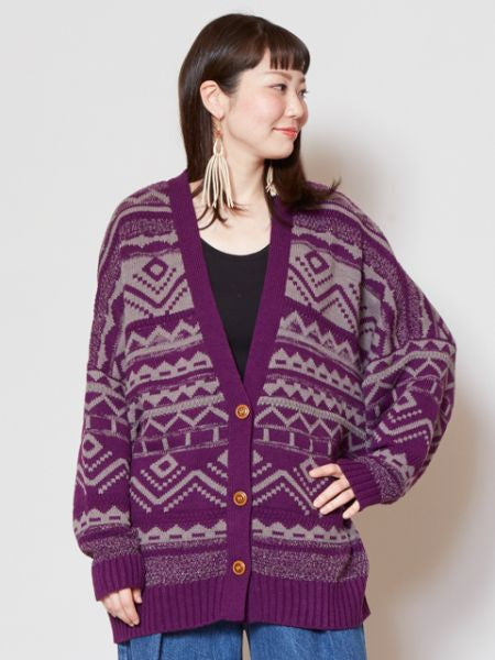 Geometrical Pattern Knitted Cardigan