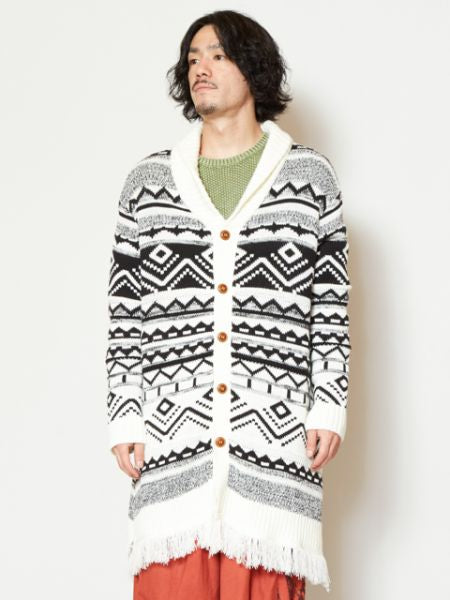 Geometrical Pattern Knitted Cardigan with Fringe Hem-Ametsuchi