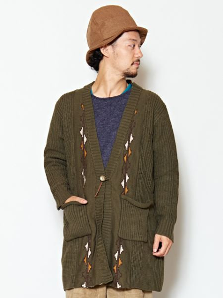 Moroccan Rug Pattern Knit Cardigan-Cardigans & Outerwear-Ametsuchi