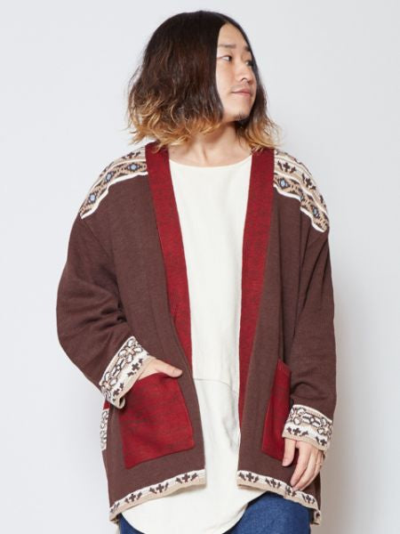 Retro Folklore Knit Cardigan-Ametsuchi
