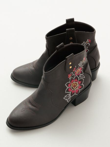 Floral Embroidery Western Short Boots -Shoes-Ametsuchi