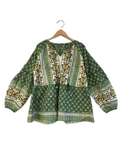 Floral Pattern Block Print Long Sleeve Top-Shirts & Blouses-Ametsuchi