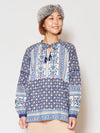 Floral Pattern Block Print Long Sleeve Top-Ametsuchi