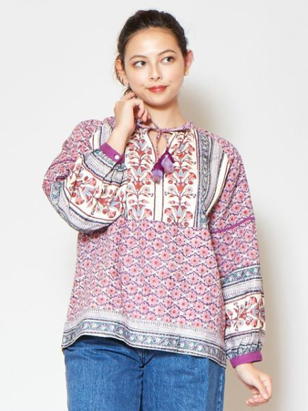Corak Floral Block Print Long Sleeve Top