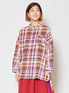 Band Collar Plaid Shirt dengan Beads Embroidered Chest Pocket-Shirts & Blouses-Ametsuchi