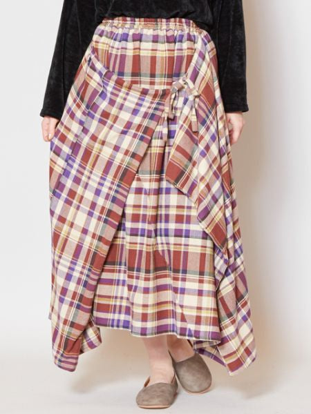 Plaid Pattern Wrap Skirt