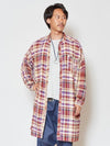 Men's Band Collar Plaid Shirt-Shirts-Ametsuchi