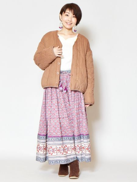Floral Pattern Block Print Long Skirt