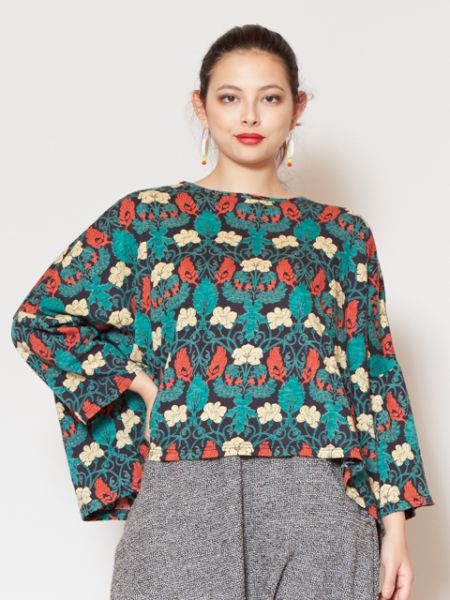 Flower and Peacock Feather Printed Top