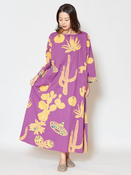 Mexican Cactus Printed Midi Dress