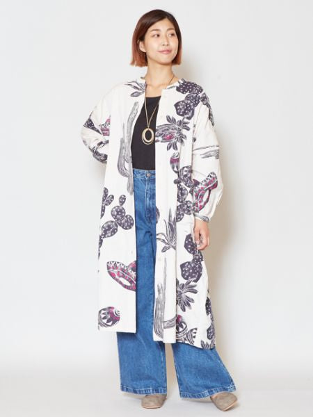 Mexican Cactus Printed Band Collar Shirt Dress