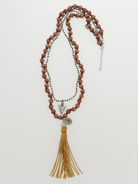 Wooden Beads Long Necklace with Tassel